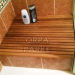Duş için Teak Izgara Paspas